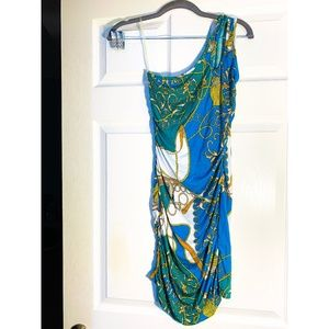 BLUE AND GREEN ONE SHOULDER DRESS-SMALL
